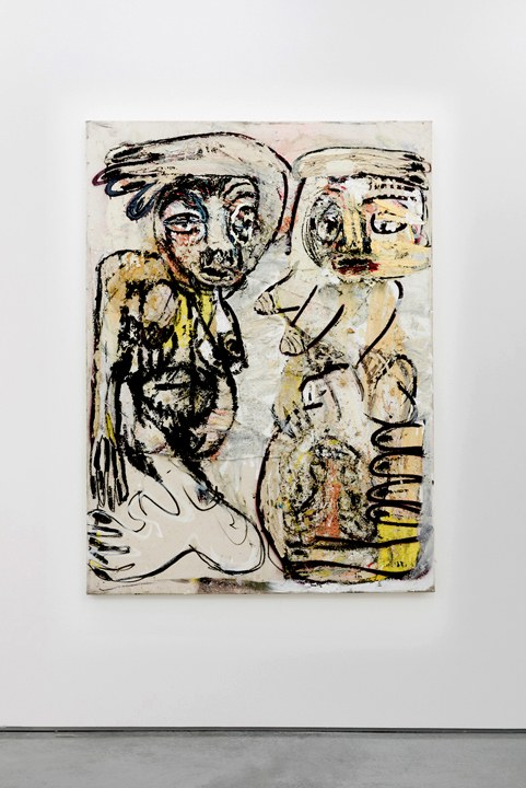 Daniel Crews-Chubb. Zumbi and Belfi (lip stick) 2015 152cm x 112cm Oil, pumice gel, sand, spray paint, charcoal and collaged materials on canvas (Photo: danielcrewschubb.com)
