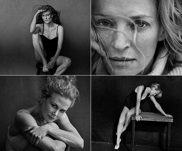 Julianne Moore, Uma Thurman, Nicole Kidman, Robin Wright, foto: colaj cu poze făcute de Peter Lindbergh pentru calendarul Pirelli